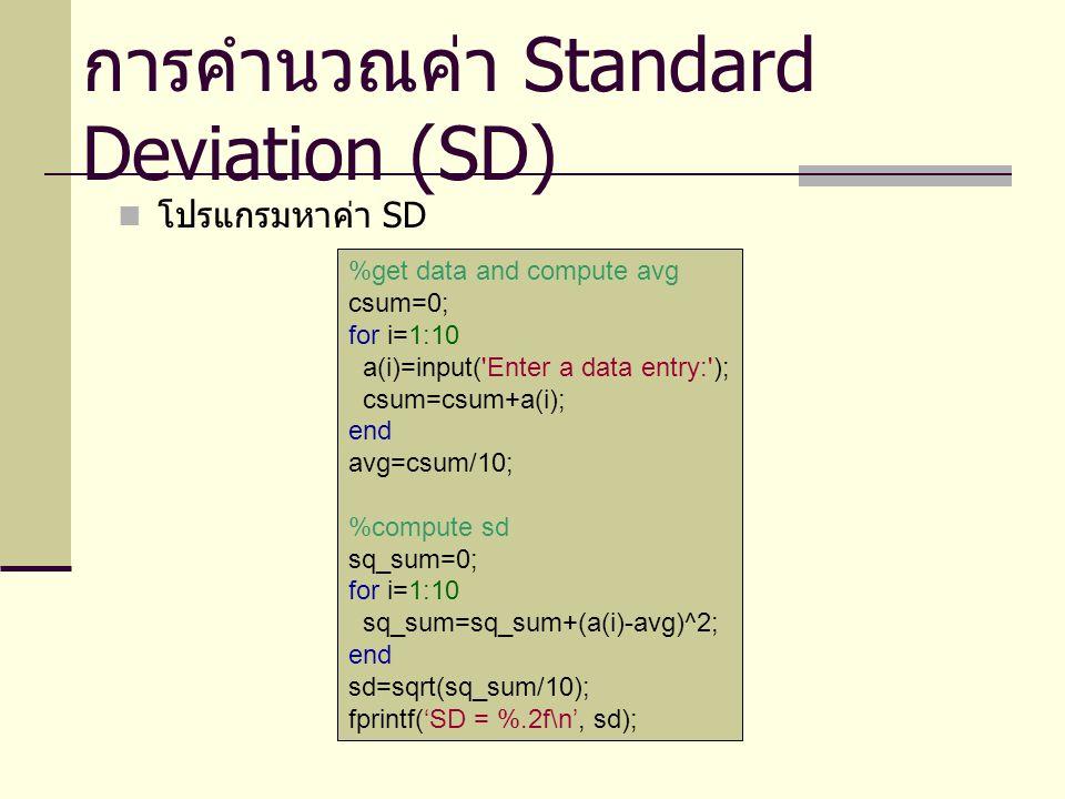 ตัดเกรดนักเรียนโดยใช้ SD ค่า SD สามารถนำมาใช้ในการตัดเกรดนักเรียนแบบ อิงกลุ่มได้ เช่น ให้ค่าคะแนนในช่วงมากกว่า avg+sd ได้เกรด A, ช่วง avg-sd ได้เกรด F นอกนั้นให้เกรด C ซึ่งการตัดเกรดแบบนี้ การคิดค่าเกรดจะต้องเกิดขึ้น หลังจากมีการคำนวณ SD แล้ว