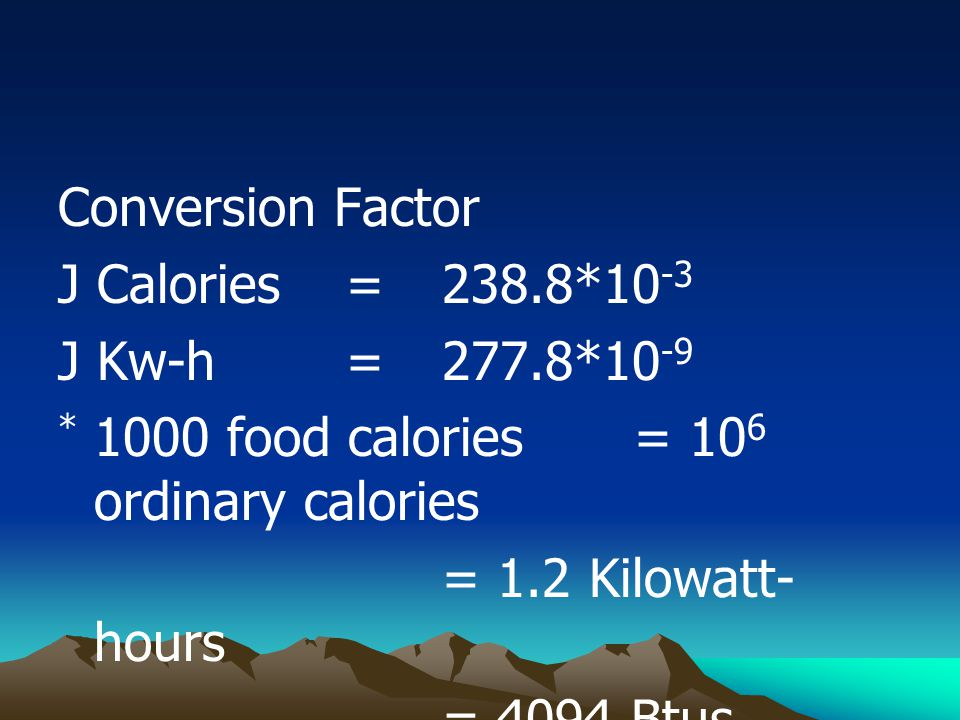 Conversion Factor J Calories =238.8*10 -3 J Kw-h= 277.8*10 -9 * 1000 food calories = 10 6 ordinary calories = 1.2 Kilowatt- hours = 4094 Btus.