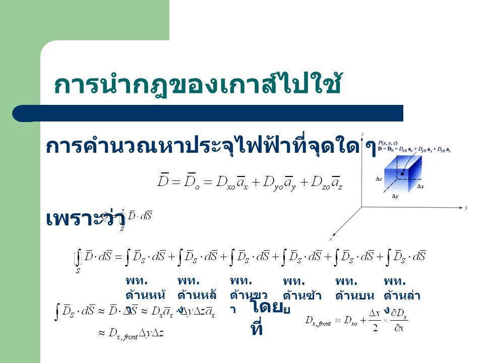 การนำกฎของเกาส์ไปใช้ การคำนวณหาประจุไฟฟ้าที่จุดใด ๆ เพราะว่า พท. ด้านหน้ า พท. ด้านหลั ง พท. ด้านขว า พท. ด้านซ้า ย พท. ด้านบน พท. ด้านล่า ง โดย ที่