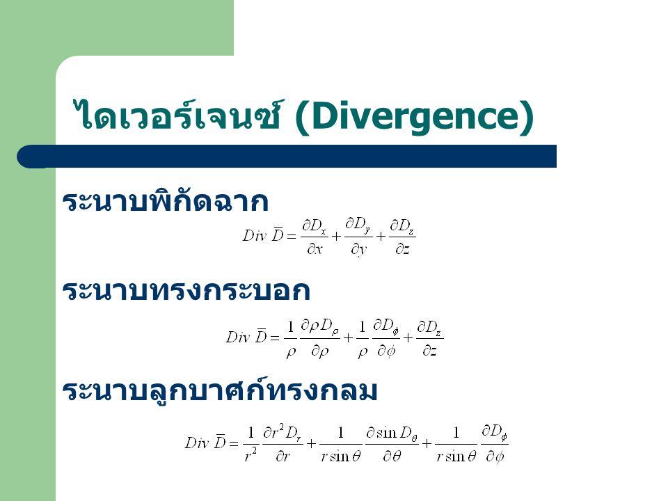 ไดเวอร์เจนซ์ (Divergence) ระนาบพิกัดฉาก ระนาบทรงกระบอก ระนาบลูกบาศก์ทรงกลม