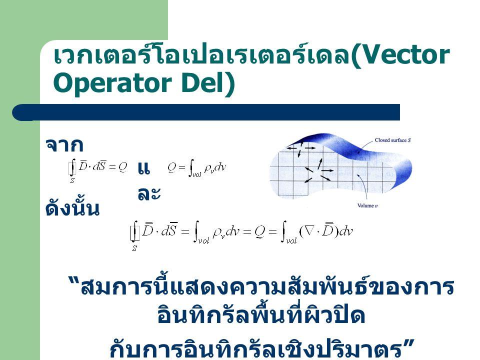 เวกเตอร์โอเปอเรเตอร์เดล (Vector Operator Del) จาก ดังนั้น แ ละ สมการนี้แสดงความสัมพันธ์ของการ อินทิกรัลพื้นที่ผิวปิด กับการอินทิกรัลเชิงปริมาตร