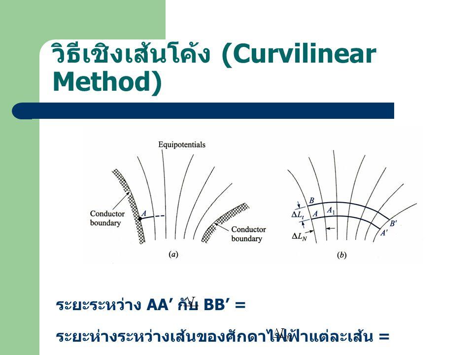 วิธีเชิงเส้นโค้ง (Curvilinear Method) ระยะระหว่าง AA' กับ BB' = ระยะห่างระหว่างเส้นของศักดาไฟฟ้าแต่ละเส้น =