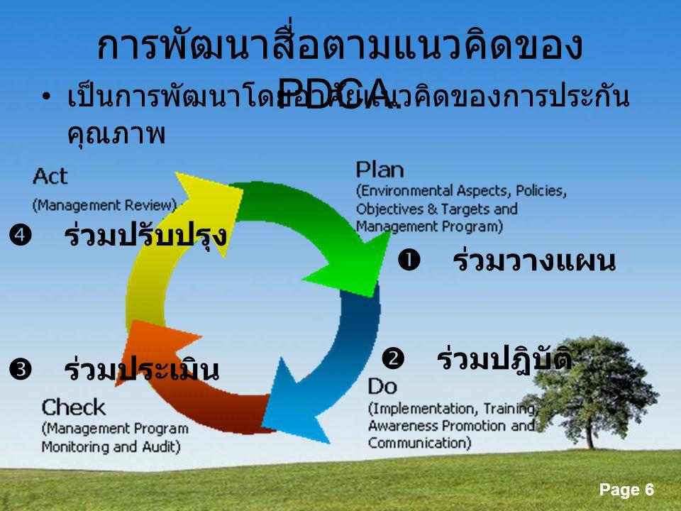 Powerpoint Templates Page 6 การพัฒนาสื่อตามแนวคิดของ PDCA. เป็นการพัฒนาโดยอาศัยแนวคิดของการประกัน คุณภาพ  ร่วมวางแผน  ร่วมปฎิบัติ  ร่วมประเมิน  ร่