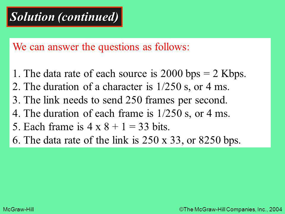 McGraw-Hill©The McGraw-Hill Companies, Inc., 2004 Solution (continued) We can answer the questions as follows: 1. The data rate of each source is 2000