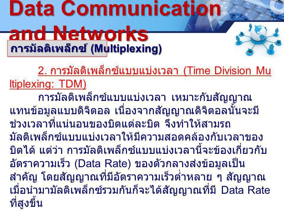 LOGO.www.pcbc.ac.th Data Communication and Networks การมัลติเพล็กซ์ (Multiplexing) 2.