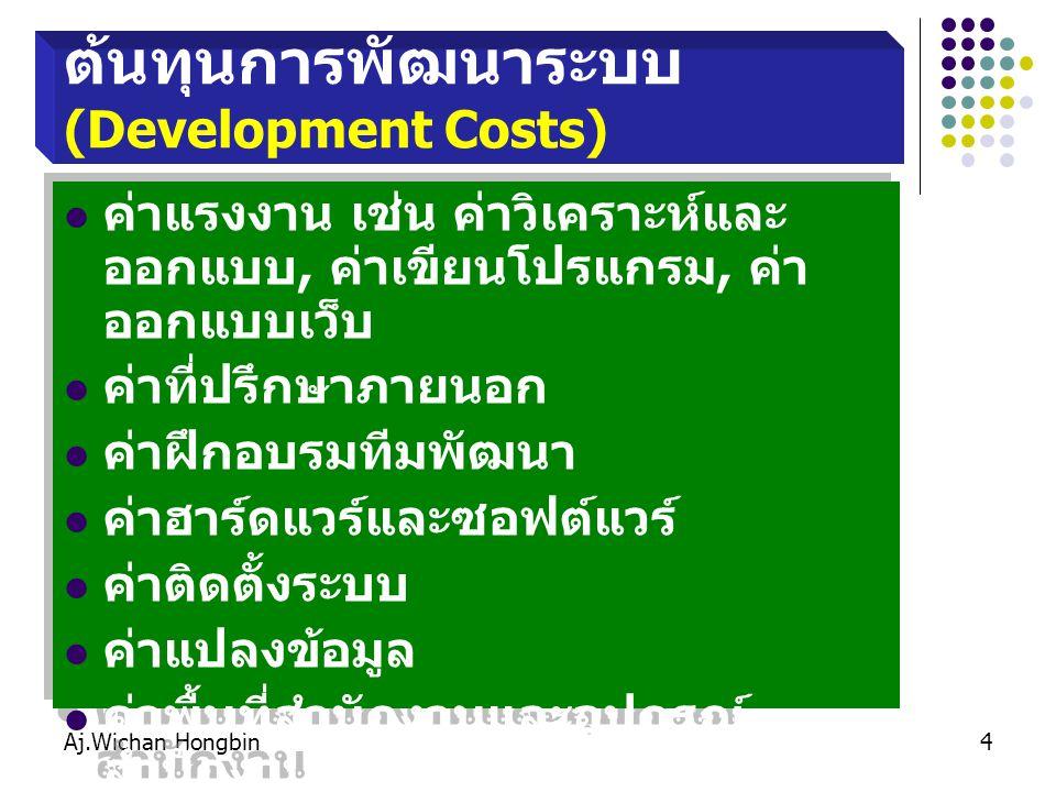 Aj.Wichan Hongbin4 ต้นทุนการพัฒนาระบบ (Development Costs) ค่าแรงงาน เช่น ค่าวิเคราะห์และ ออกแบบ, ค่าเขียนโปรแกรม, ค่า ออกแบบเว็บ ค่าที่ปรึกษาภายนอก ค่าฝึกอบรมทีมพัฒนา ค่าฮาร์ดแวร์และซอฟต์แวร์ ค่าติดตั้งระบบ ค่าแปลงข้อมูล ค่าพื้นที่สำนักงานและอุปกรณ์ สำนักงาน ค่าแรงงาน เช่น ค่าวิเคราะห์และ ออกแบบ, ค่าเขียนโปรแกรม, ค่า ออกแบบเว็บ ค่าที่ปรึกษาภายนอก ค่าฝึกอบรมทีมพัฒนา ค่าฮาร์ดแวร์และซอฟต์แวร์ ค่าติดตั้งระบบ ค่าแปลงข้อมูล ค่าพื้นที่สำนักงานและอุปกรณ์ สำนักงาน