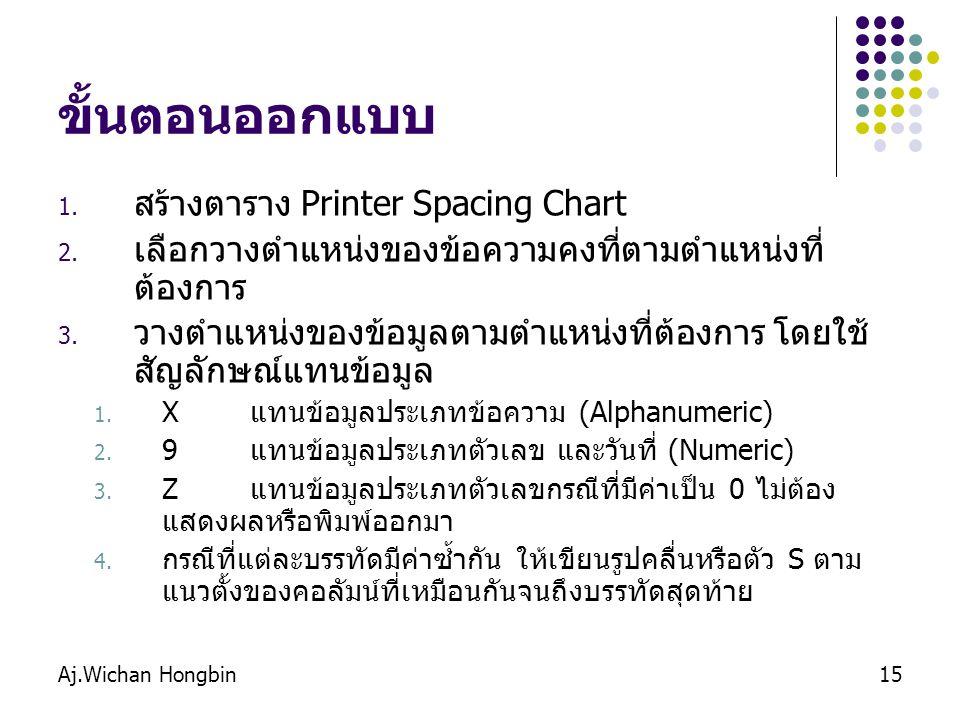 Aj.Wichan Hongbin15 ขั้นตอนออกแบบ 1. สร้างตาราง Printer Spacing Chart 2. เลือกวางตำแหน่งของข้อความคงที่ตามตำแหน่งที่ ต้องการ 3. วางตำแหน่งของข้อมูลตาม