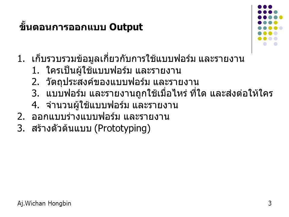 Aj.Wichan Hongbin4 Internal Output : Output ที่ใช้ภายในองค์กร เช่นรายงานประเภท ต่าง ๆ Detailed reports : รายงานแสดงรายละเอียด Summary reports : รายงานสรุป แสดงเป็นคอลัมน์ หรือใช้กราฟ เพื่อให้เข้าใจง่าย Exception reports : รายงานที่อยู่นอกเหนือที่ได้คาดการณ์ไว้ เช่น รายงานสินค้าที่เสียหายจากการขนส่ง เป็นต้น External Output : Output ที่ส่งออกภายนอกองค์กร เช่น ใบเสร็จรับเงิน เป็นต้น Turnaround output : Output ที่ส่งออกภายนอกองค์กร และมี บางส่วนที่ส่งกลับมายังองค์กร เช่น ใบฝากถอนเงิน ใบส่งสินค้า เป็นต้น ประเภทของรายงาน