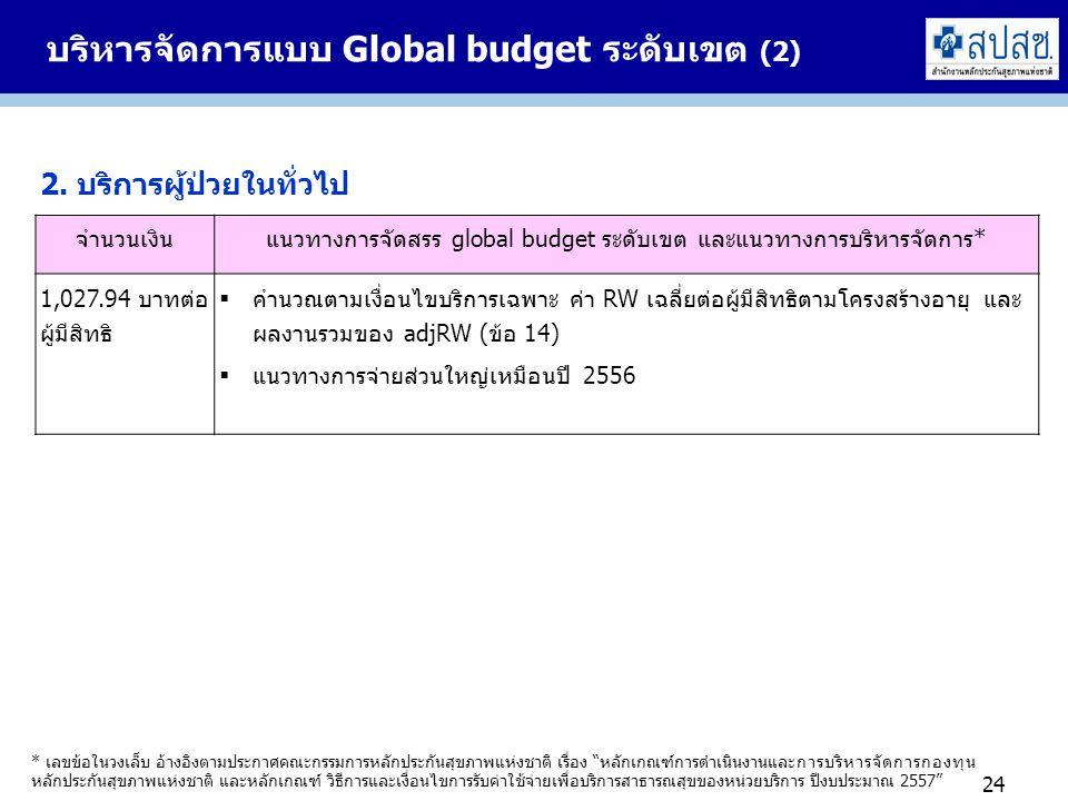 บริหารจัดการแบบ Global budget ระดับเขต (2) 24 * เลขข้อในวงเล็บ อ้างอิงตามประกาศคณะกรรมการหลักประกันสุขภาพแห่งชาติ เรื่อง หลักเกณฑ์การดำเนินงานและการบริหารจัดการกองทุน หลักประกันสุขภาพแห่งชาติ และหลักเกณฑ์ วิธีการและเงื่อนไขการรับค่าใช้จ่ายเพื่อบริการสาธารณสุขของหน่วยบริการ ปีงบประมาณ 2557 2.