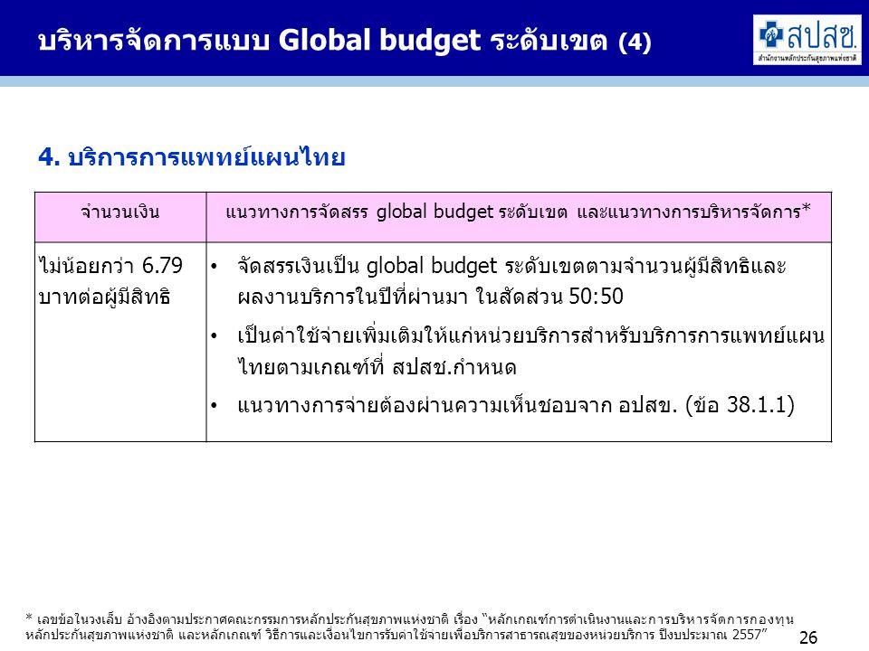 บริหารจัดการแบบ Global budget ระดับเขต (4) 26 4. บริการการแพทย์แผนไทย จำนวนเงินแนวทางการจัดสรร global budget ระดับเขต และแนวทางการบริหารจัดการ* ไม่น้อ