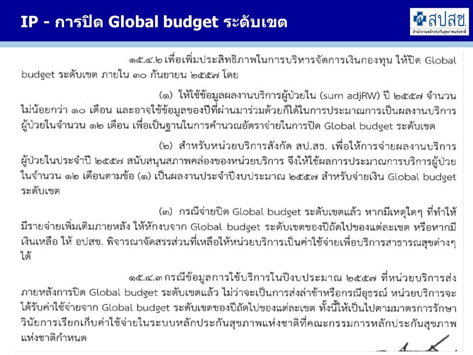 IP - การปิด Global budget ระดับเขต 30