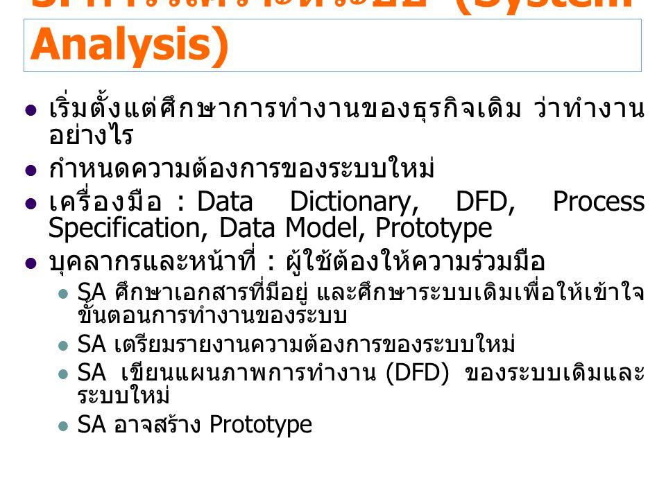 3. การวิเคราะห์ระบบ (System Analysis) เริ่มตั้งแต่ศึกษาการทำงานของธุรกิจเดิม ว่าทำงาน อย่างไร กำหนดความต้องการของระบบใหม่ เครื่องมือ : Data Dictionary