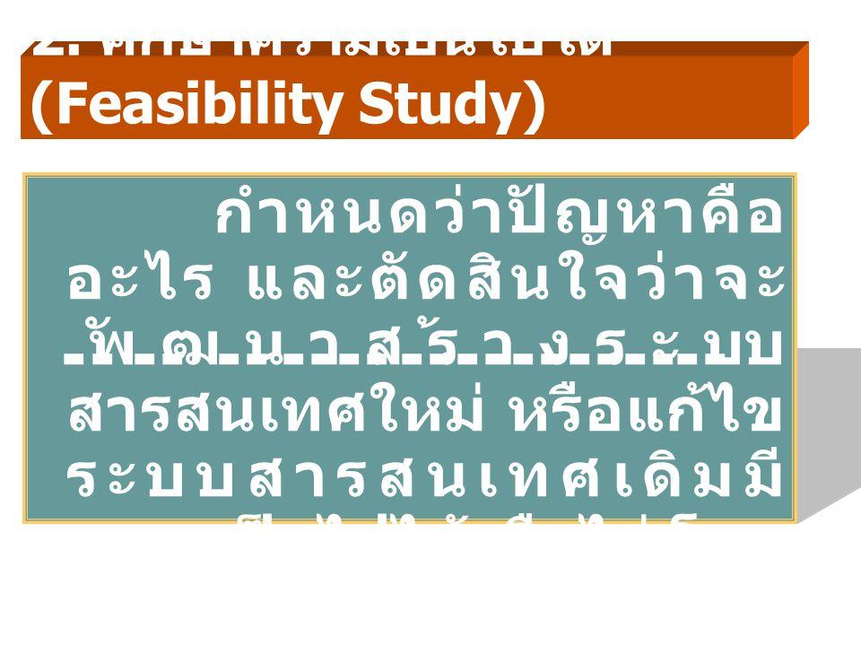 2. ศึกษาความเป็นไปได้ (Feasibility Study) กำหนดว่าปัญหาคือ อะไร และตัดสินใจว่าจะ พัฒนาสร้างระบบ สารสนเทศใหม่ หรือแก้ไข ระบบสารสนเทศเดิมมี ความเป็นไปได