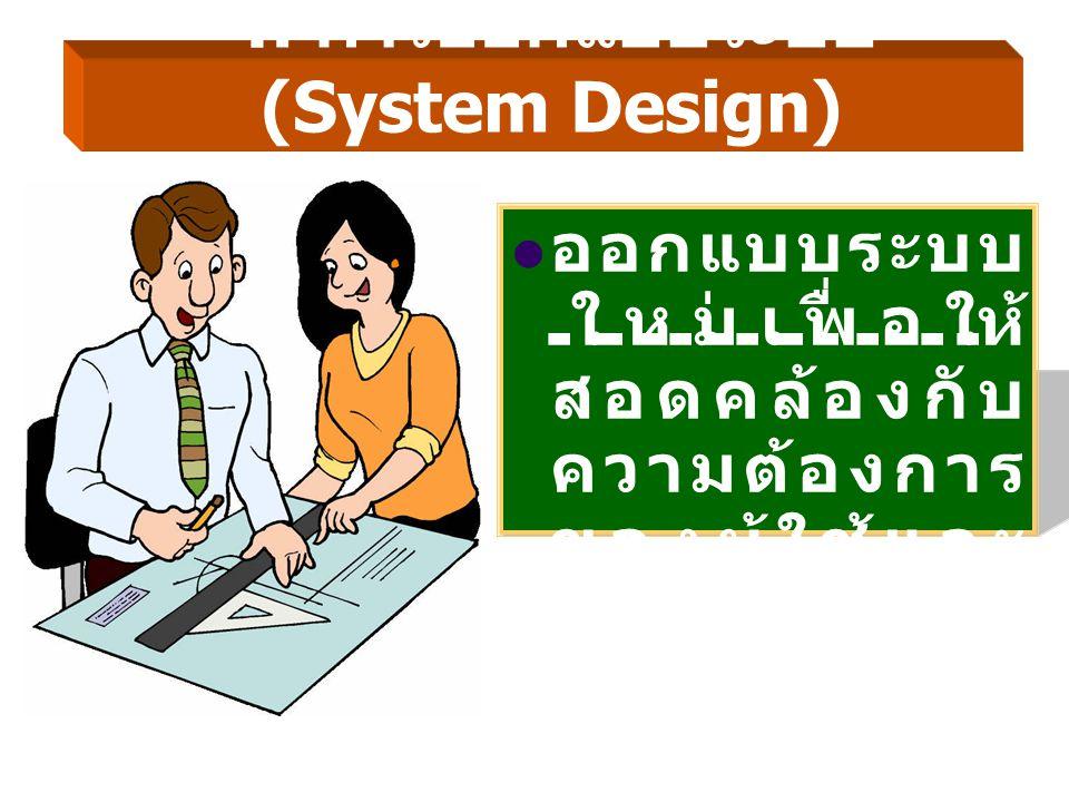 4. การออกแบบระบบ (System Design) ออกแบบระบบ ใหม่เพื่อให้ สอดคล้องกับ ความต้องการ ของผู้ใช้และ ผู้บริหาร