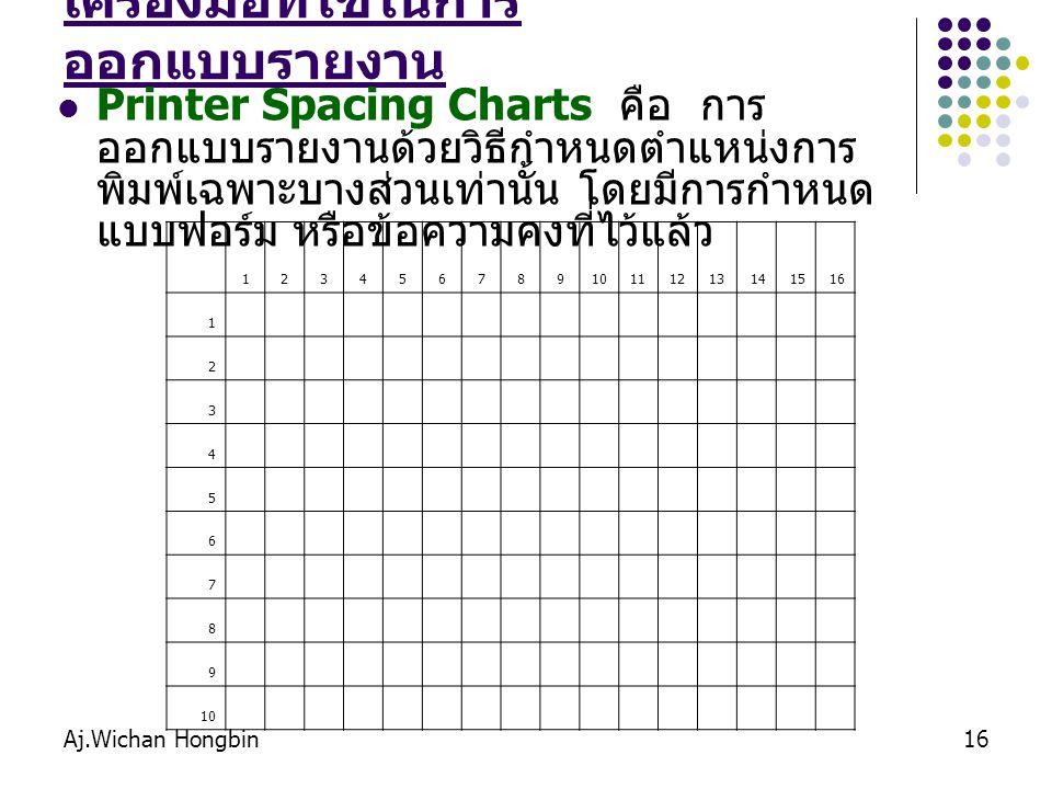 Aj.Wichan Hongbin16 เครื่องมือที่ใช้ในการ ออกแบบรายงาน Printer Spacing Charts คือ การ ออกแบบรายงานด้วยวิธีกำหนดตำแหน่งการ พิมพ์เฉพาะบางส่วนเท่านั้น โด