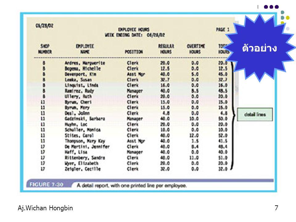 Aj.Wichan Hongbin8 1.Report headers และ footers : ส่วนหัวและท้ายรายงาน 2.Page headers และ footers : ส่วนหัวและท้ายกระดาษ 3.Details : รายละเอียด 4.Grouping detail lines : การจัดกลุ่มข้อมูลที่แสดง องค์ประกอบของรายงาน