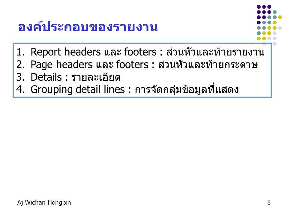 Aj.Wichan Hongbin9 ลักษณะทั่วไปของรายงาน จะปรากฎเฉพาะหน้าแรก ส่วนของรายละเอียด จะปรากฎเฉพาะหน้าสุดท้าย จะปรากฎที่ส่วนหัวกระดาษทุกหน้า จะปรากฎที่ส่วนท้ายกระดาษทุกหน้า Group Detail Line