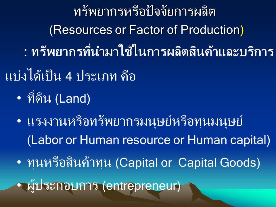 ทรัพยากรหรือปัจจัยการผลิต (Resources or Factor of Production) ทรัพยากรหรือปัจจัยการผลิต (Resources or Factor of Production) : ทรัพยากรที่นำมาใช้ในการผ