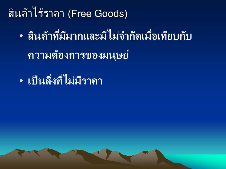 สินค้าไร้ราคา (Free Goods) สินค้าที่มีมากและมีไม่จำกัดเมื่อเทียบกับ ความต้องการของมนุษย์ เป็นสิ่งที่ไม่มีราคา
