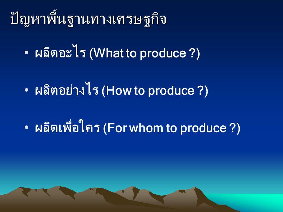 ปัญหาพื้นฐานทางเศรษฐกิจ ผลิตอะไร (What to produce ?) ผลิตอย่างไร (How to produce ?) ผลิตเพื่อใคร (For whom to produce ?)