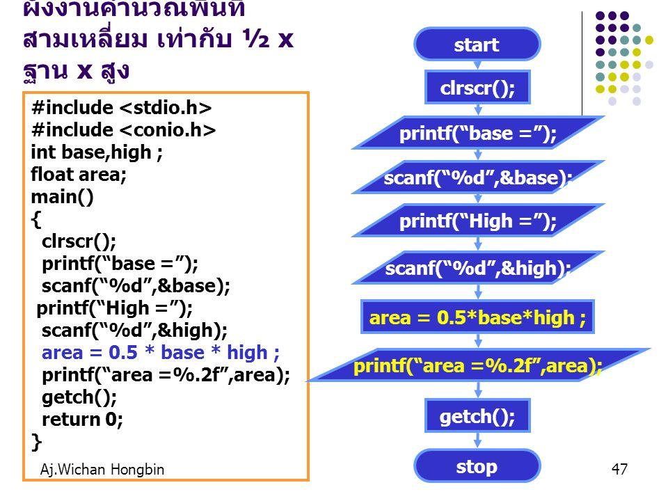 Aj.Wichan Hongbin47 ตังอย่างผังงาน : จงเขียน ผังงานคำนวณพื้นที่ สามเหลี่ยม เท่ากับ ½ x ฐาน x สูง #include int base,high ; float area; main() { clrscr(); printf( base = ); scanf( %d ,&base); printf( High = ); scanf( %d ,&high); area = 0.5 * base * high ; printf( area =%.2f ,area); getch(); return 0; } start clrscr(); printf( base = ); stop getch(); scanf( %d ,&base); printf( High = ); scanf( %d ,&high); area = 0.5*base*high ; printf( area =%.2f ,area);