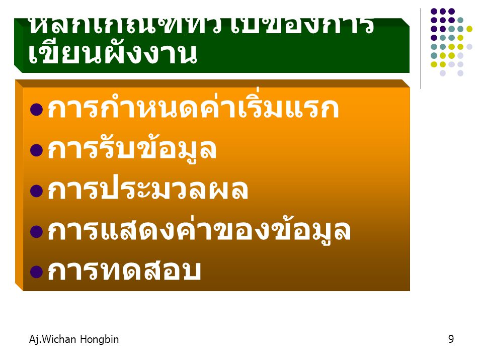 Aj.Wichan Hongbin50 แบบทดสอบ  จงเขียนผังงาน คำนวณพื้นที่ สี่เหลี่ยมผืนผ้า มีสูตรเท่ากับ กว้าง x ยาว  จงเขียนผังงาน รับจำนวนนาที ที่โทรศัพท์ เพื่อคำนวณค่าโทร คิดนาทีละ 2 บาท  จงเขียนผังงาน รับชั่วโมงการ ทำงาน เพื่อคำนวณค่าแรง ซึ่ง คิดให้ชั่วโมงละ 200 บาท  จงเขียนผังงาน รับค่าน้ำ ค่า ไฟฟ้า ค่าโทรศัพท์ เพื่อคำนวณ รายจ่ายสุทธิ แสดงผลออกทาง จอภาพ