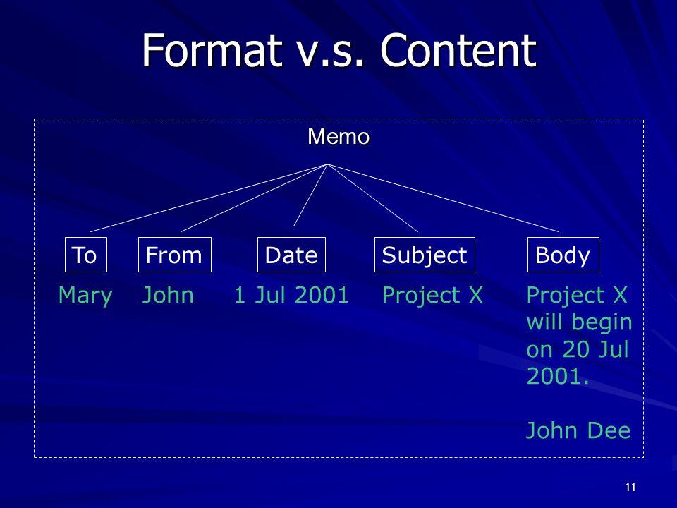 11 Format v.s.