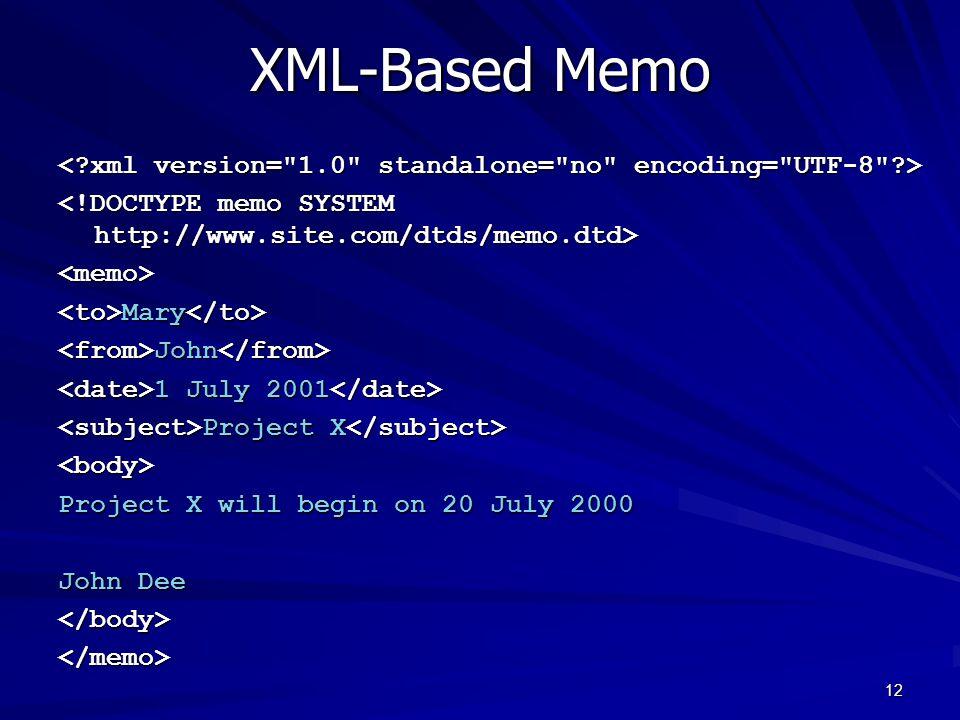 12 XML-Based Memo <memo> Mary Mary John John 1 July 2001 1 July 2001 Project X Project X <body> Project X will begin on 20 July 2000 John Dee </body></memo>
