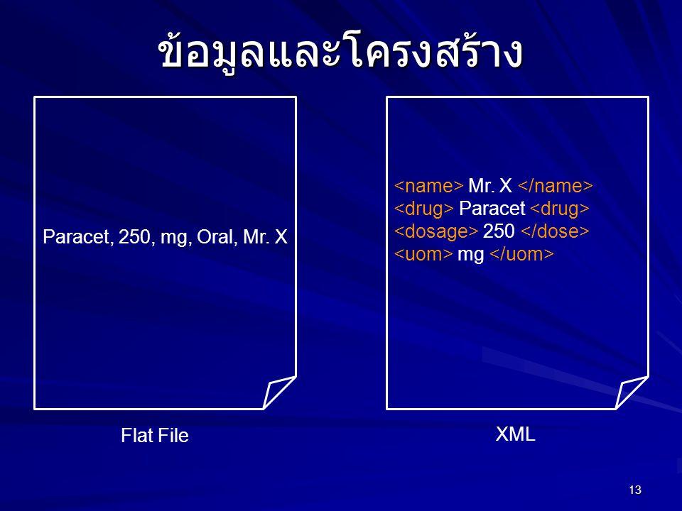 13 ข้อมูลและโครงสร้าง Paracet, 250, mg, Oral, Mr. X Mr. X Paracet 250 mg XML Flat File