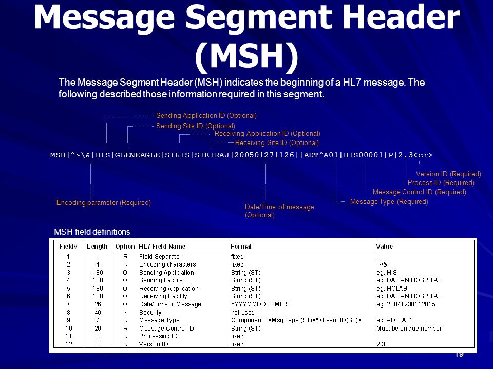19 Message Segment Header (MSH) MSH|^~\&|HIS|GLENEAGLE|SILIS|SIRIRAJ|200501271126||ADT^A01|HIS00001|P|2.3 Encoding parameter (Required) Message Type (