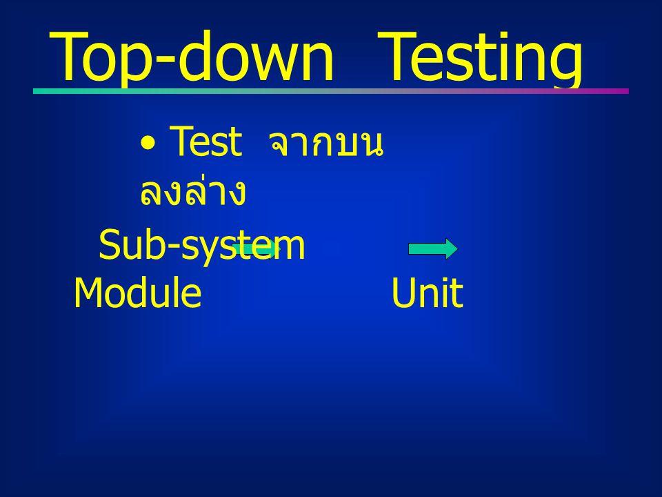 Top-down Testing Test จากบน ลงล่าง Sub-system Module Unit