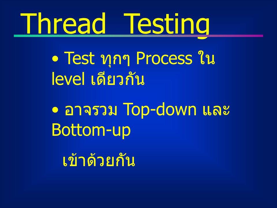 Thread Testing Test ทุกๆ Process ใน level เดียวกัน อาจรวม Top-down และ Bottom-up เข้าด้วยกัน