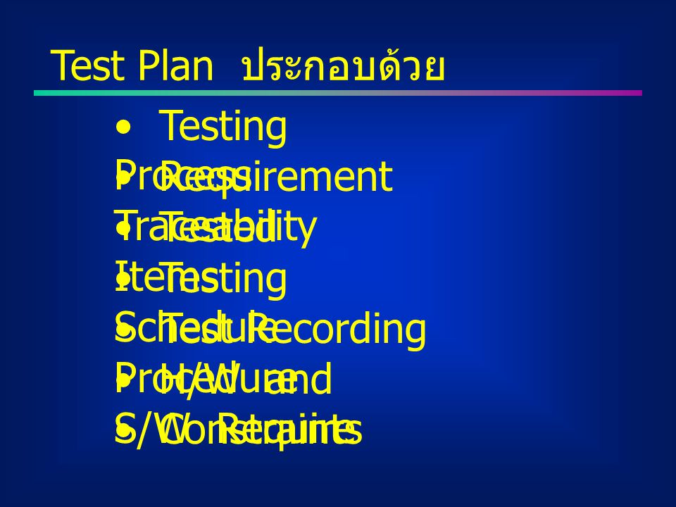 Test Plan ประกอบด้วย Testing Process Requirement Traceability Tested Items Testing Schedule Test Recording Procedure H/W and S/W Require Constraints