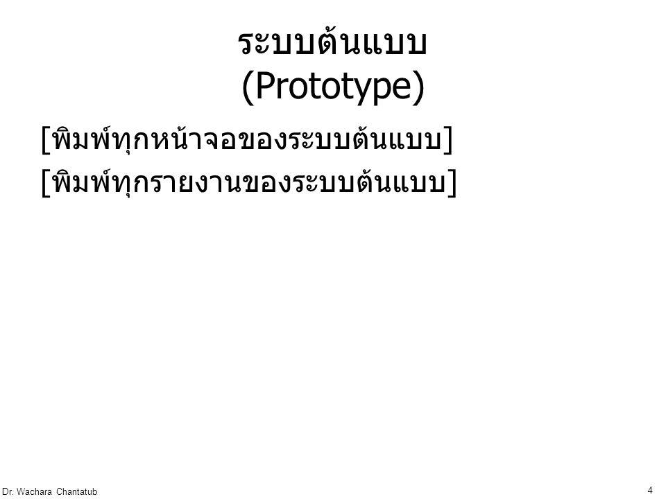 Dr. Wachara Chantatub 4 ระบบต้นแบบ (Prototype) [ พิมพ์ทุกหน้าจอของระบบต้นแบบ ] [ พิมพ์ทุกรายงานของระบบต้นแบบ ]