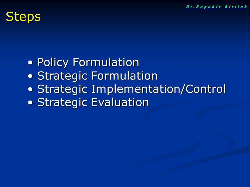 Policy Formulation Policy Formulation Strategic Formulation Strategic Formulation Strategic Implementation/Control Strategic Implementation/Control St