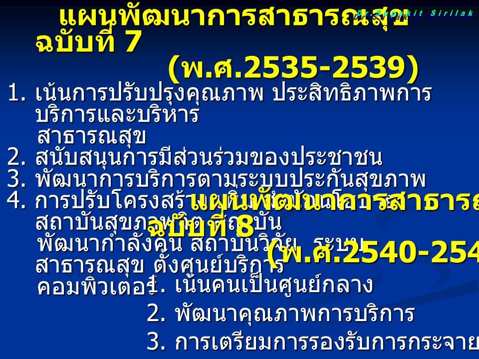 แผนพัฒนาการสาธารณสุข ฉบับที่ 7 แผนพัฒนาการสาธารณสุข ฉบับที่ 7 ( พ. ศ.2535-2539) ( พ. ศ.2535-2539) 1. เน้นการปรับปรุงคุณภาพ ประสิทธิภาพการ บริการและบริ