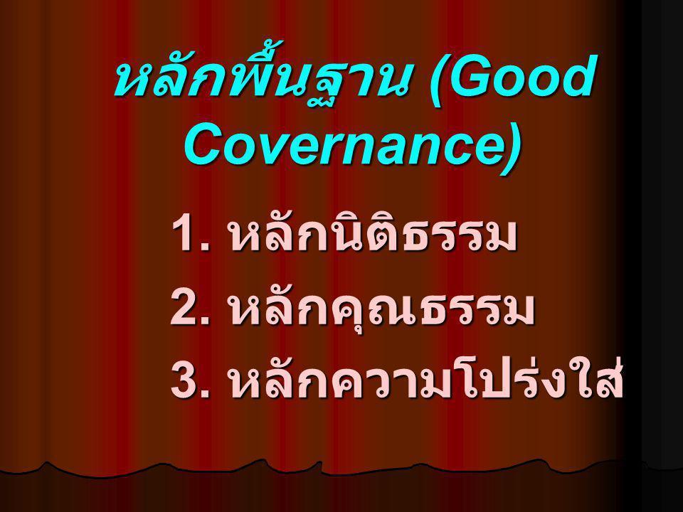 หลักพื้นฐาน (Good Covernance) 1. หลักนิติธรรม 2. หลักคุณธรรม 3. หลักความโปร่งใส่