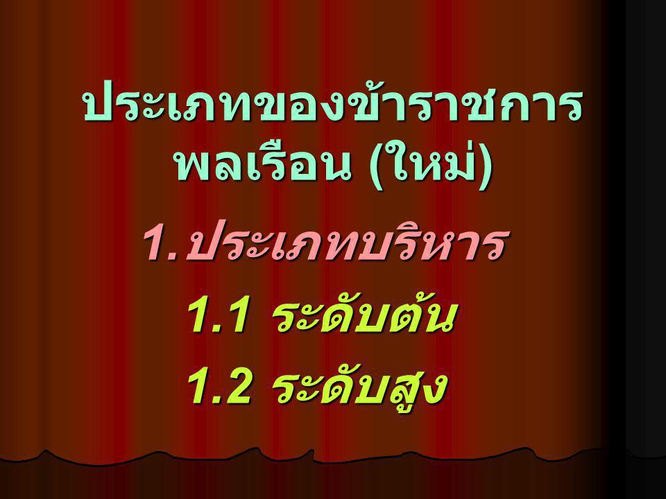 ประเภทของข้าราชการ พลเรือน ( ใหม่ ) 1. ประเภทบริหาร 1.1 ระดับต้น 1.2 ระดับสูง