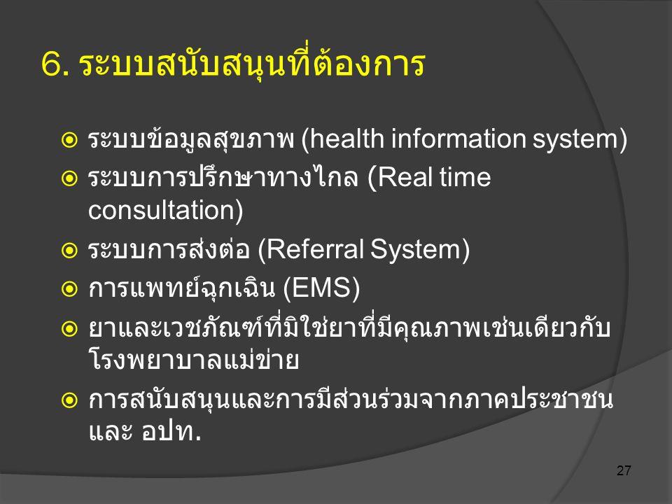 27 6. ระบบสนับสนุนที่ต้องการ  ระบบข้อมูลสุขภาพ (health information system)  ระบบการปรึกษาทางไกล (Real time consultation)  ระบบการส่งต่อ (Referral S