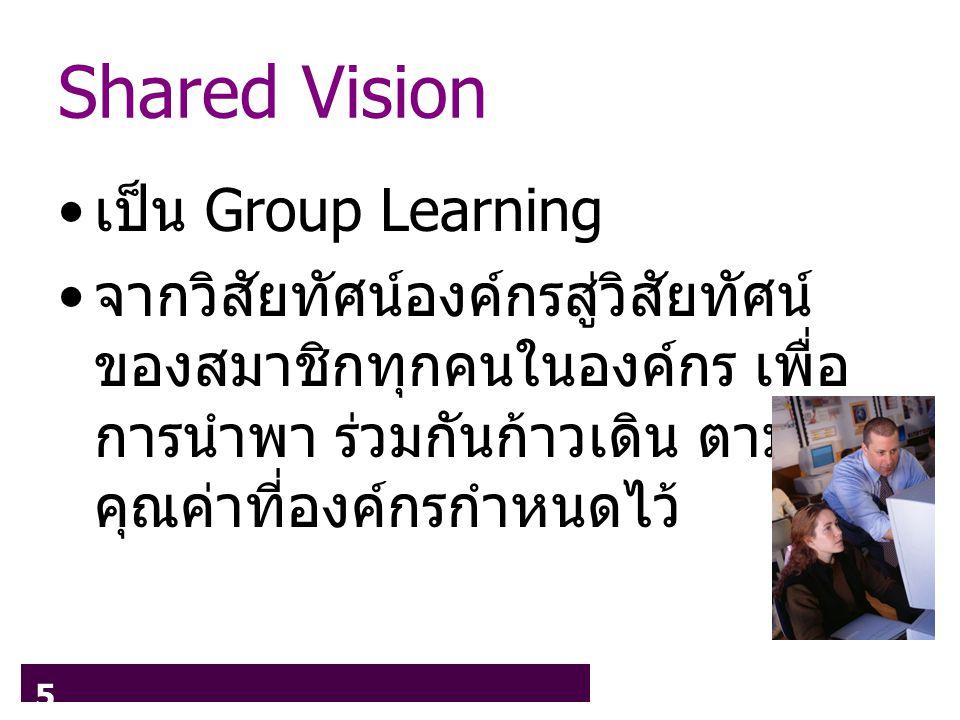 5 Shared Vision เป็น Group Learning จากวิสัยทัศน์องค์กรสู่วิสัยทัศน์ ของสมาชิกทุกคนในองค์กร เพื่อ การนำพา ร่วมกันก้าวเดิน ตาม คุณค่าที่องค์กรกำหนดไว้