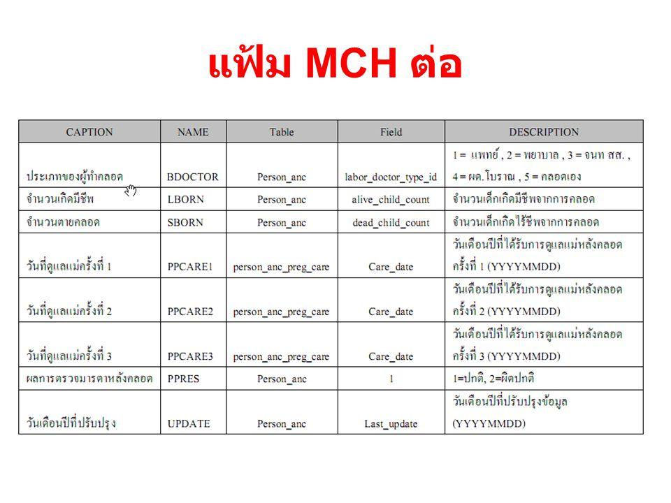 แฟ้ม MCH ต่อ