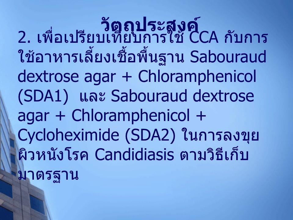 เก็บขุยผิวหนังผู้ป่วยโรค Candidiasis โดยใช้ใบมีด (N=5) วิธีดั้งเดิม ลงขุยบนอาหารเลี้ยงเชื้อ (SDA1, SDA2) บ่มเชื้อที่อุณหภูมิห้อง 3 วัน ทำการทดสอบ Germ tube test, Chlamydoconidia reproduction test ใช้เวลา 2 วัน รายงานผล C.