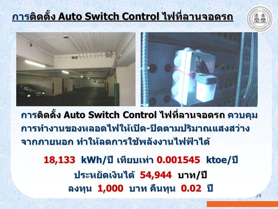 38 การติดตั้ง Auto Switch Control ไฟที่ลานจอดรถ การติดตั้ง Auto Switch Control ไฟที่ลานจอดรถ ควบคุม การทำงานของหลอดไฟให้เปิด-ปิดตามปริมาณแสงสว่าง จากภ