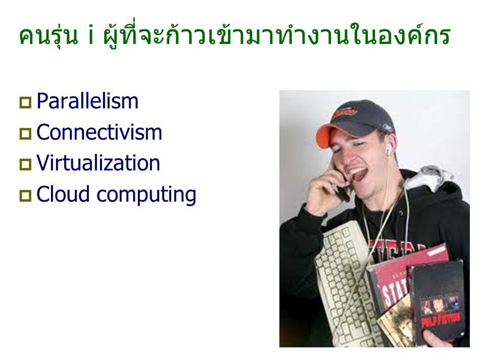 คนรุ่น i ผู้ที่จะก้าวเข้ามาทำงานในองค์กร  Parallelism  Connectivism  Virtualization  Cloud computing