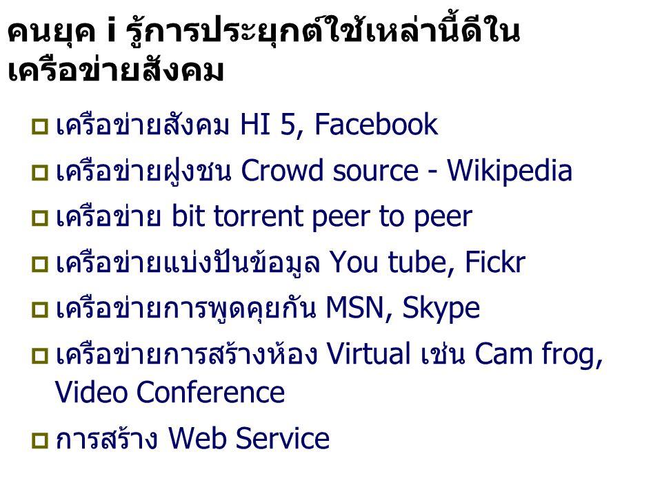 คนยุค i รู้การประยุกต์ใช้เหล่านี้ดีใน เครือข่ายสังคม  เครือข่ายสังคม HI 5, Facebook  เครือข่ายฝูงชน Crowd source - Wikipedia  เครือข่าย bit torrent peer to peer  เครือข่ายแบ่งปันข้อมูล You tube, Fickr  เครือข่ายการพูดคุยกัน MSN, Skype  เครือข่ายการสร้างห้อง Virtual เช่น Cam frog, Video Conference  การสร้าง Web Service