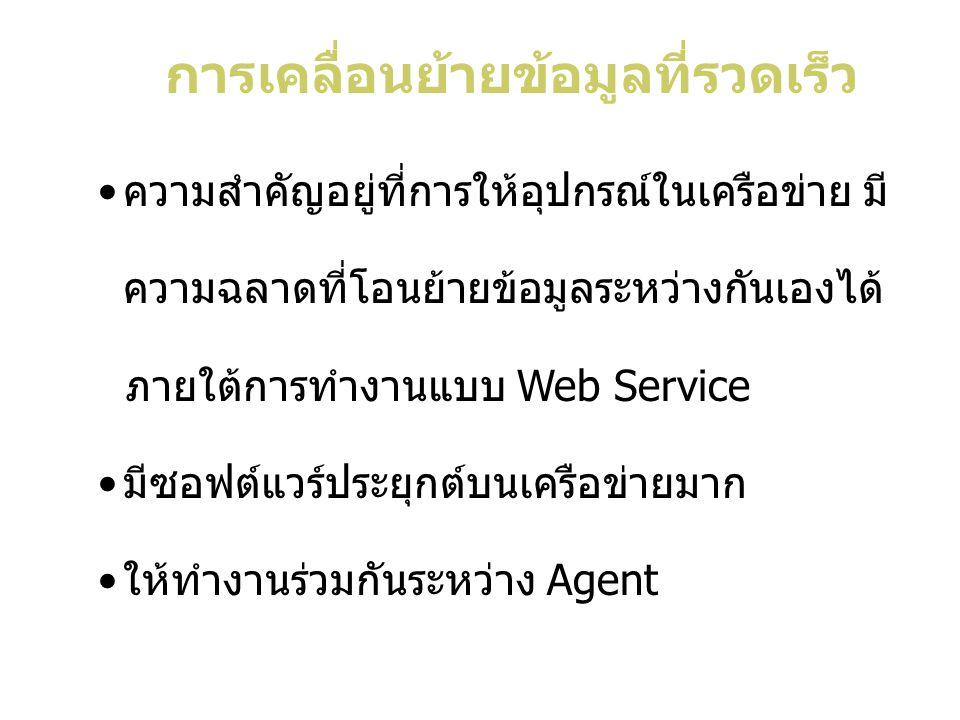 ความสำคัญอยู่ที่การให้อุปกรณ์ในเครือข่าย มี ความฉลาดที่โอนย้ายข้อมูลระหว่างกันเองได้ ภายใต้การทำงานแบบ Web Service มีซอฟต์แวร์ประยุกต์บนเครือข่ายมาก ให้ทำงานร่วมกันระหว่าง Agent การเคลื่อนย้ายข้อมูลที่รวดเร็ว