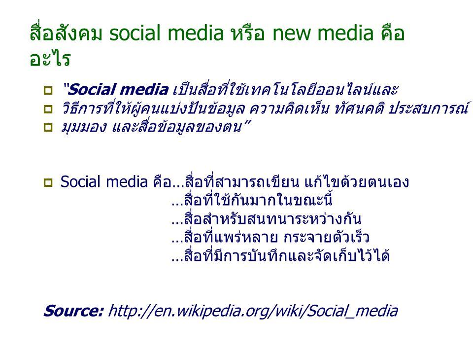 สื่อสังคม social media หรือ new media คือ อะไร  Social media เป็นสื่อที่ใช้เทคโนโลยีออนไลน์และ  วิธีการที่ให้ผู้คนแบ่งปันข้อมูล ความคิดเห็น ทัศนคติ ประสบการณ์  มุมมอง และสื่อข้อมูลของตน  Social media คือ…สื่อที่สามารถเขียน แก้ไขด้วยตนเอง …สื่อที่ใช้กันมากในขณะนี้ …สื่อสำหรับสนทนาระหว่างกัน …สื่อที่แพร่หลาย กระจายตัวเร็ว …สื่อที่มีการบันทึกและจัดเก็บไว้ได้ Source: http://en.wikipedia.org/wiki/Social_media