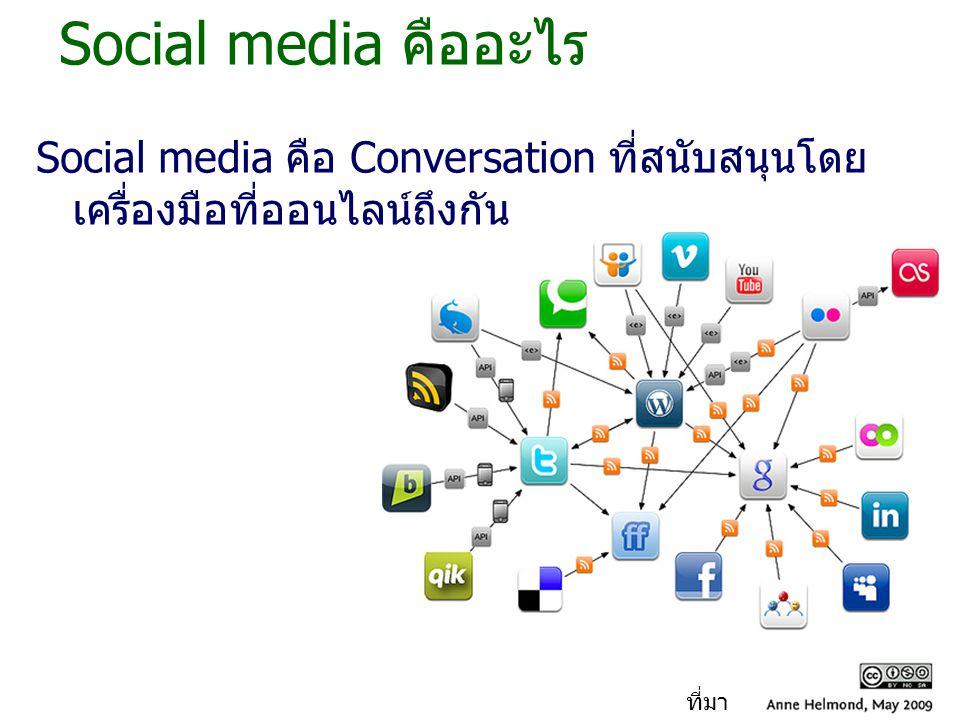 Social media คืออะไร Social media คือ Conversation ที่สนับสนุนโดย เครื่องมือที่ออนไลน์ถึงกัน ที่มา