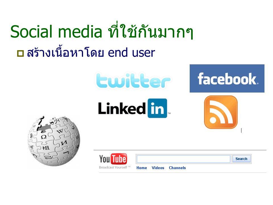 Social media ที่ใช้กันมากๆ  สร้างเนื้อหาโดย end user