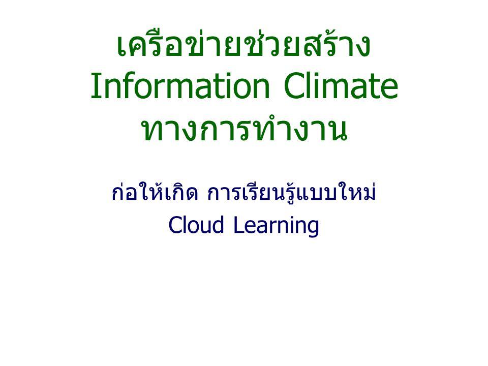 เครือข่ายช่วยสร้าง Information Climate ทางการทำงาน ก่อให้เกิด การเรียนรู้แบบใหม่ Cloud Learning